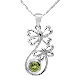 Sterling Silver Peridot Butterfly Necklace (Thailand)
