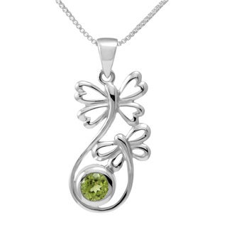 Sterling Silver Peridot Double Butterfly Necklace (Thailand)