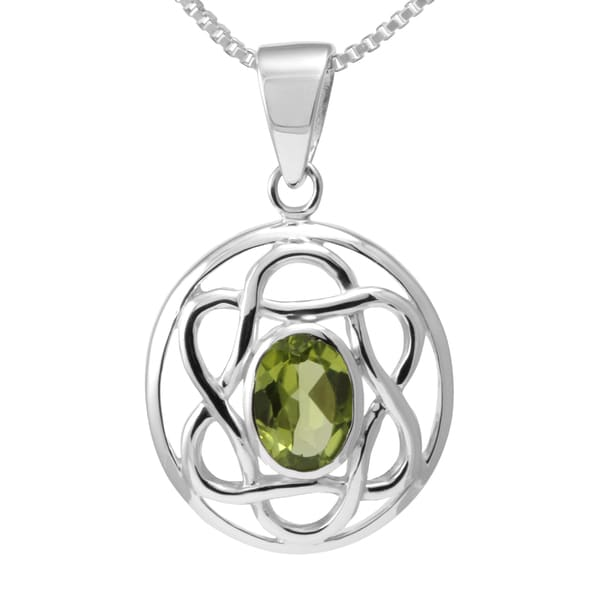 Sterling Silver Peridot Celtic Knot Necklace (Thailand)