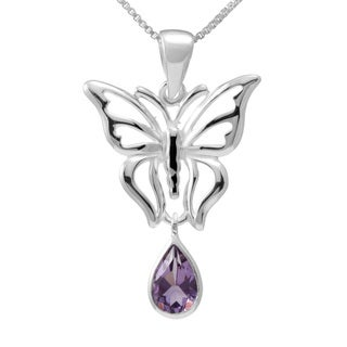 Sterling Silver Teardrop Amethyst Butterfly Necklace (Thailand)