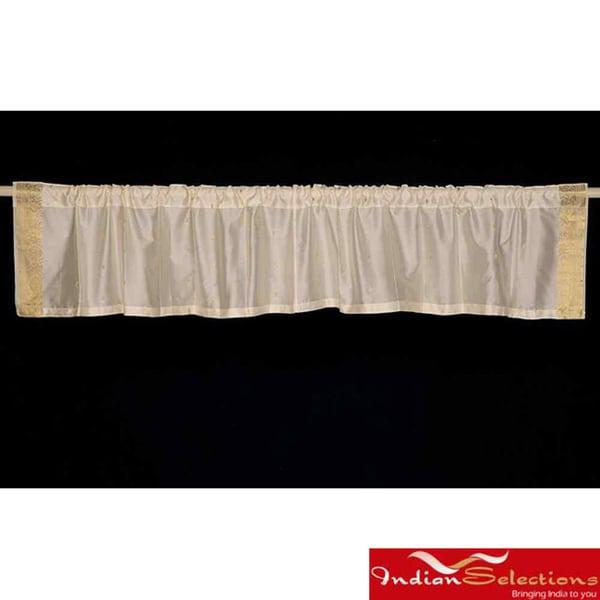 Set of 2 Cream Sari Fabric Decorative Valances (India)