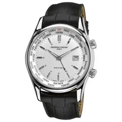 Frederique Constant Men's 'Index' Worldtimer Black Leather Strap Watch