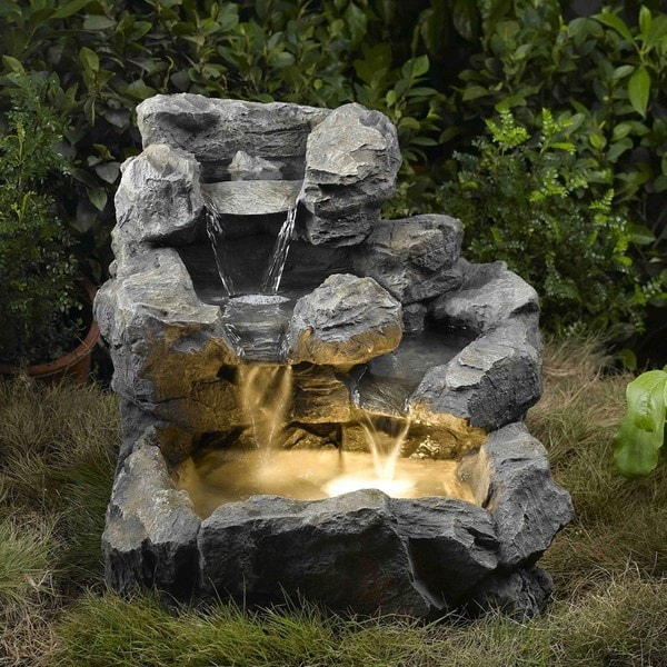 Rock creek illuminated cascading water fountain 14034606 for Garden pond waterfalls for sale