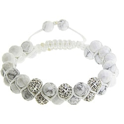 Eternally Haute Howlite and White Crystal Macrame Friendship Bracelet