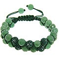 Eternally Haute Aventurine and Green Crystal Macrame Friendship Bracelet