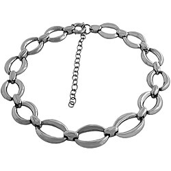 Fremada Stainless Steel Puffed Oval Link Adjustable Necklace