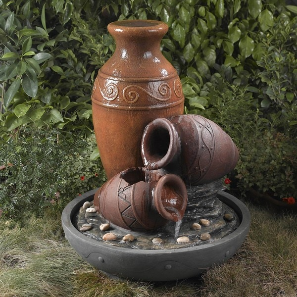 Old-Fashioned Clay Pots Water Fountain