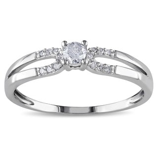 Miadora 10k White Gold 1/6ct TDW Diamond Promise Ring (G-H, I2-I3)