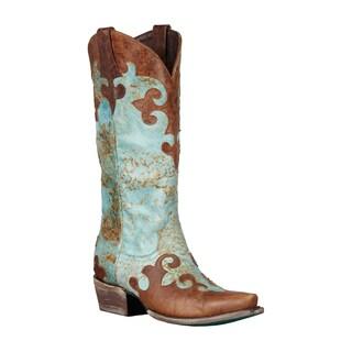 Lane Boots Women's 'Dawson' Brown/Turquoise Cowboy Boots