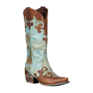 Lane Boots Women's 'Dawson' Brown/Turquoise Cowboy Boots
