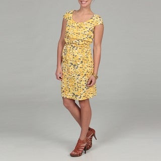 Gabby Skye Women's Yellow Floral Pleated Dress