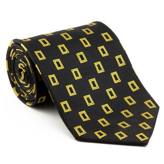 Platinum Ties Men's 'Black and Yellow Deep' Necktie
