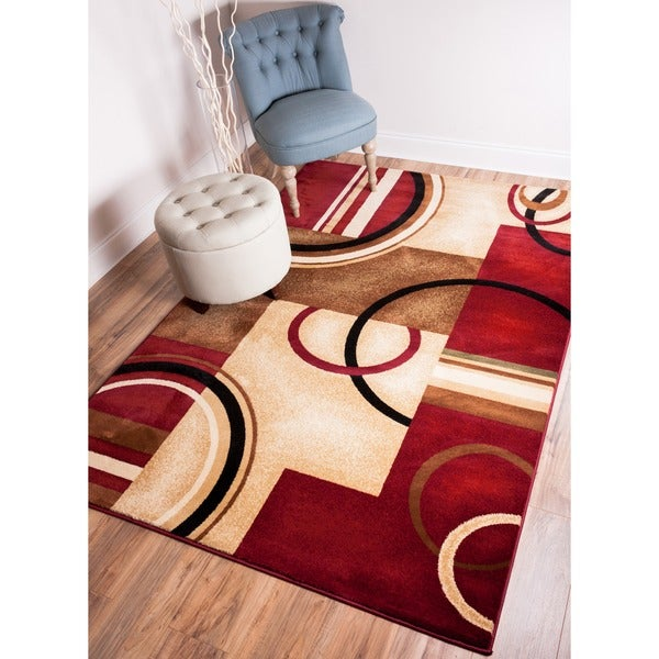 Arcs and Shapes Red Rug (7'10 x 9'10)