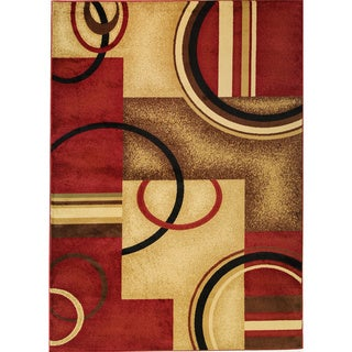 Arcs and Shapes Red Rug (5'3 x 7'3)