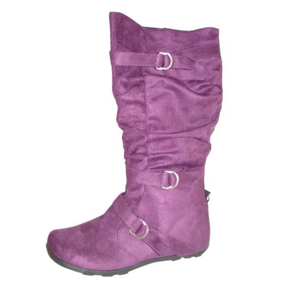 Carrini Women's Purple 3-buckle Faux Suede Boots