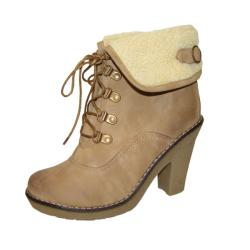 Bucco Women's 'Manda' Camel Lace-up Booties