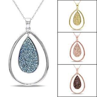 Miadora Sterling Silver Druzy Gemstone Pendant Necklace