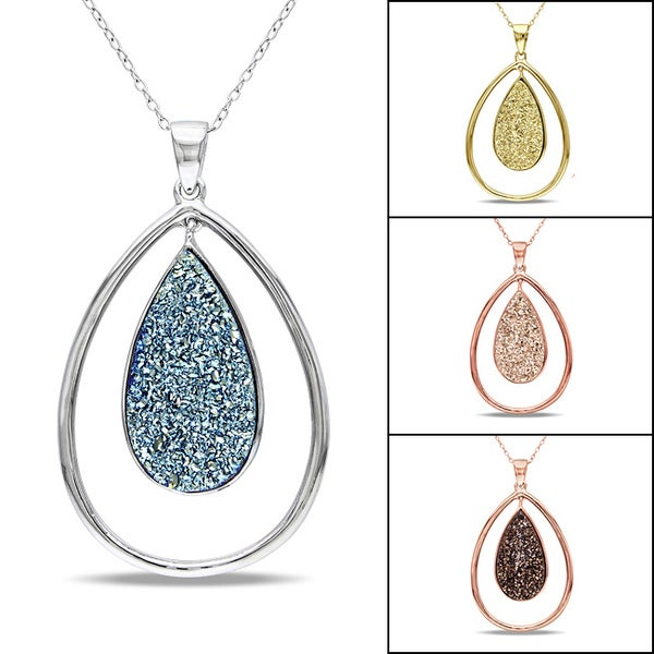 Miadora Sterling Silver Druzy Gemstone Pendant Necklace