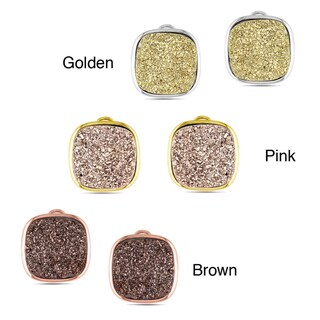 Miadora Sterling Silver Cushion Shape Druzy Gemstone Earrings