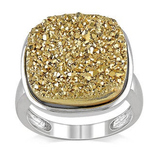 Miadora Sterling Silver Golden Druzy Cushion-cut Gemstone Ring