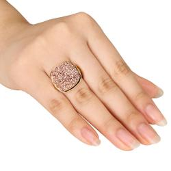 Miadora Sterling Silver Rose Color Druzy Gemstone Ring