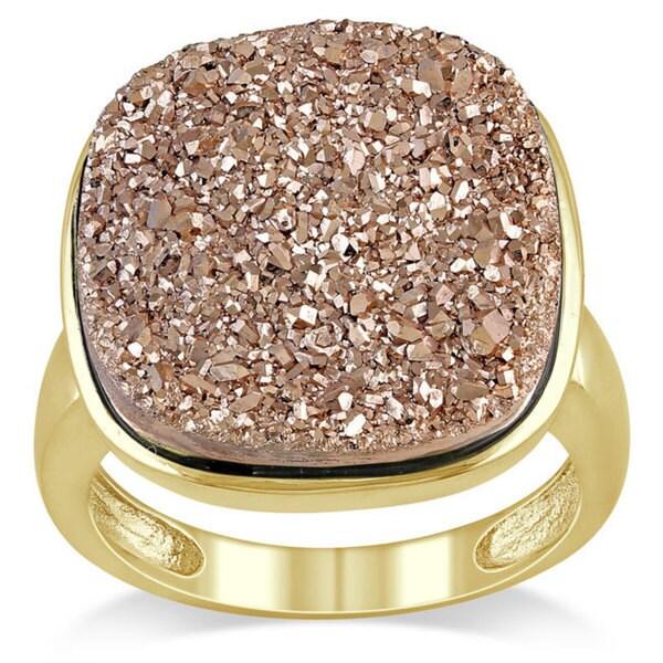 Miadora Sterling Silver Rose Color Druzy Gemstone Ring