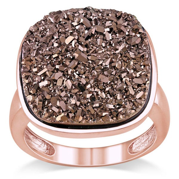 Miadora Sterling Silver Brown Druzy Gemstone Ring