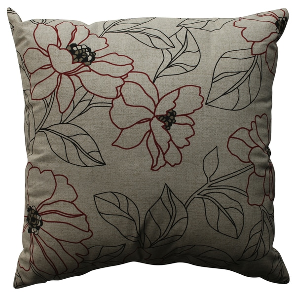 Pillow Perfect Decorative Red and Beige Floral Pillow - Overstock Shopping - Great Deals on ...