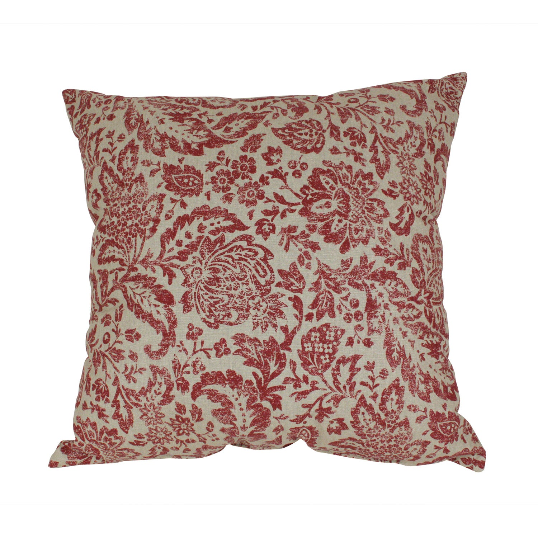 Pillow Perfect Decorative Red and Tan Damask Pillow