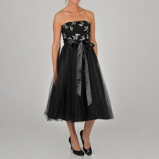Oleg Cassini Women's Strapless Tea Length Tulle Skirt Party Dress