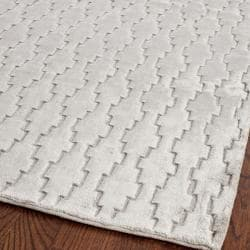 Hand-knotted Mirage Grey Viscose Rug (2' x 8')