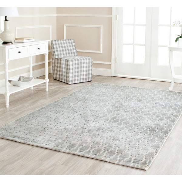 Safavieh Hand-knotted Mirage Grey Viscose Rug (7' 6 x 9' 6)