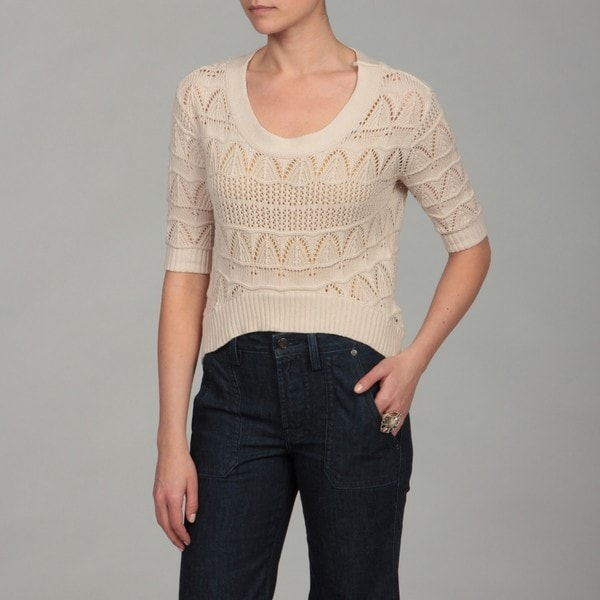 Dolled Up Women's Oatmeal 3/4-sleeve Scoop Top