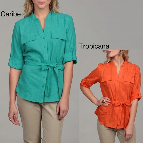 RQT Women's Belted 3/4-sleeve Collared Top