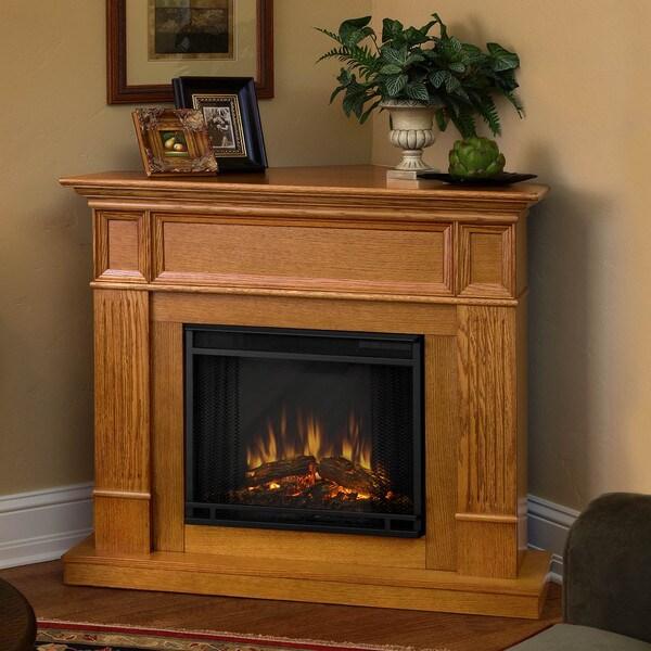 Camden Real Flame Light Oak Electric Fireplace