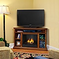 Churchill Real Flame Oak Finish Gel Corner Fireplace