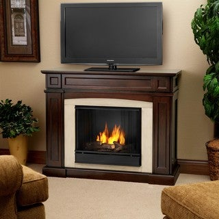 Rutherford Real Flame Dark Mahogany Ventless Gel Fireplace