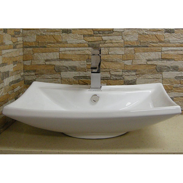 Somette Vitreous China White Vessel Sink