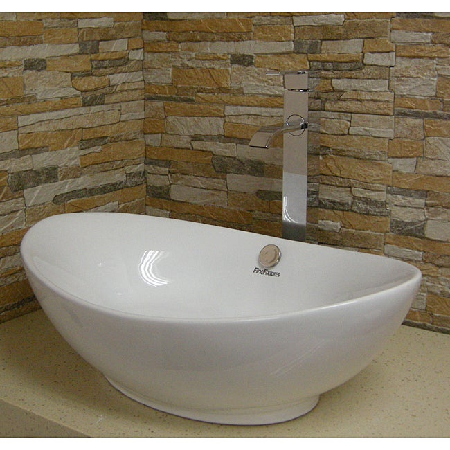 Vitreous-China White Vessel Sink with Curving Sides