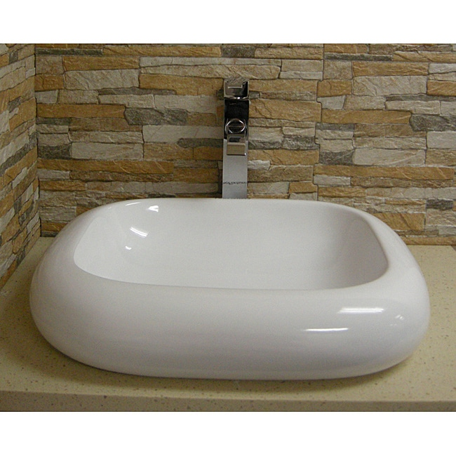 Fine Fixtures Rectangular Vitreous-China White Vessel Sink