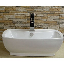 Somette Vitreous China Ceramic White Vessel Sink