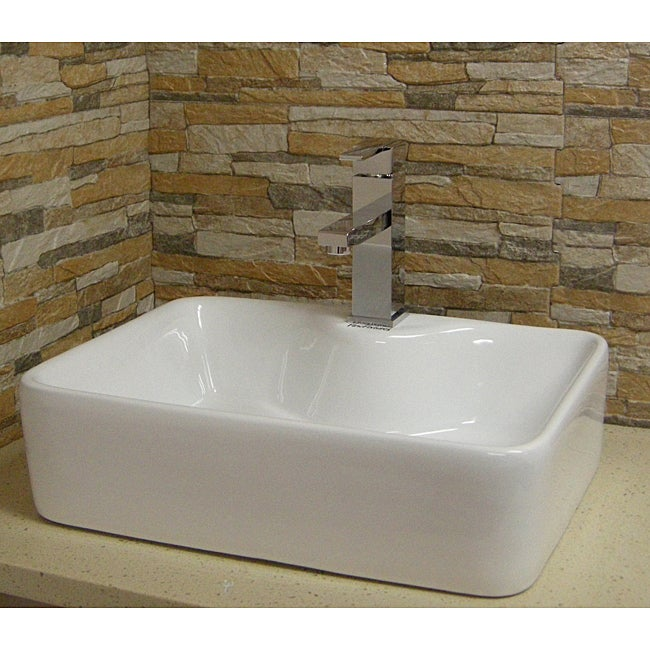 Modern Vessel Sinks : Somette Modern Vitreous-China White Vessel Sink