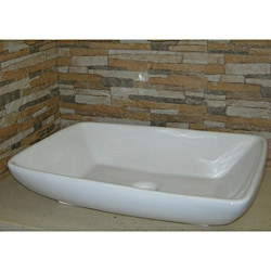 Vitreous-China White Vessel Sink (Space-Saving Design)