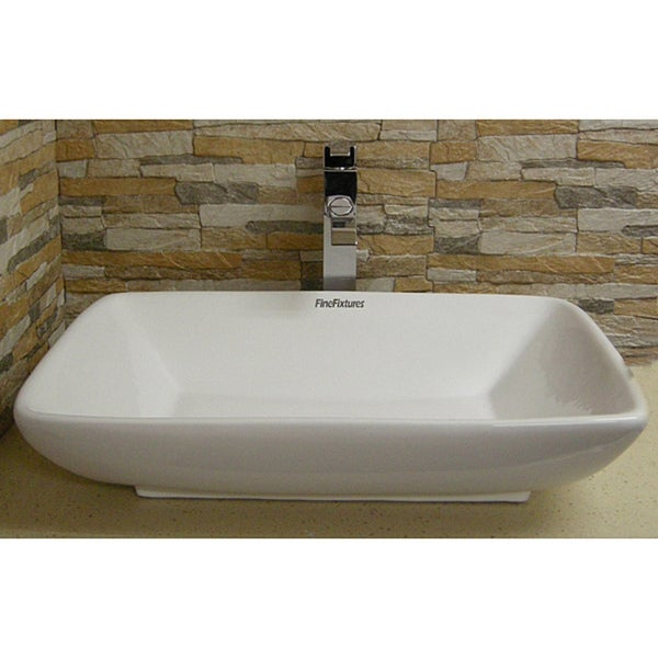 Somette Vitreous-China White Vessel Sink (Space-Saving Design)