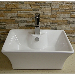 Somette Contemporary Vitreous-China White Vessel Sink