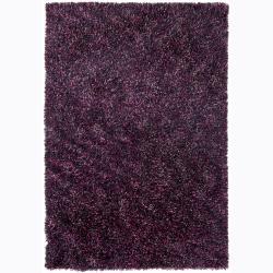 Handwoven Purple/Silver/Pink Mandara Shag Rug (7'9 x 10'6)