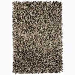 Handwoven Ivory/Black/Beige Mandara New Zealand Wool Shag Rug (7'9 x 10'6)