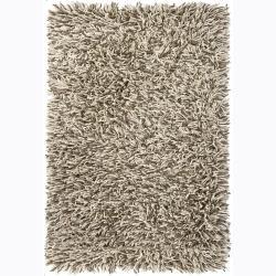 Handwoven Beige/Gray/Ivory Mandara New Zealand Wool Shag Rug (7'9 x 10'6)