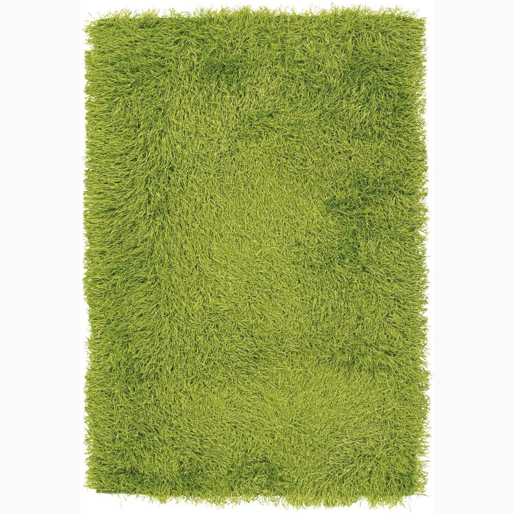 Hand-woven Mandara Green Shag Rug (7'9 x 10'6)