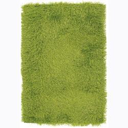 Hand-woven Mandara Green Shag Rug (9' x 13')